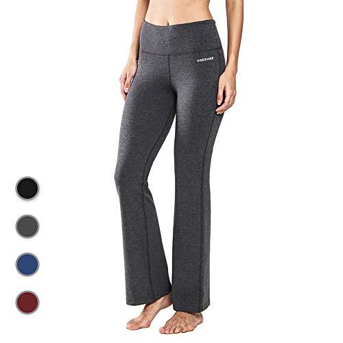 Baumwolle Damen Tasche (Ogeenier Damen Baumwolle Bootcut Yogahose Flare Jogginghose Lang Hose Sporthose mit Hoher Taille und Tasche für Yoga, Pilates, Fitness,Training)