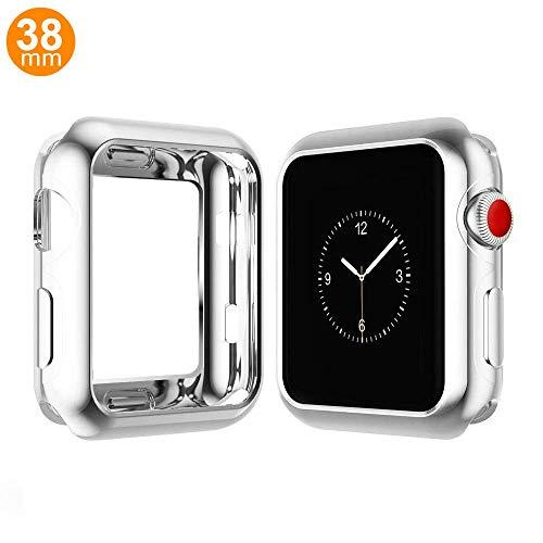 Schutzhülle kompatibel mit Apple Watch Serie 4, stoßfest, Silikon, stoßfest, TPU, Schutzhülle für Apple Watch Serie 4, 38 mm, Chrome Sliver Chrome Apple
