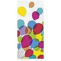 Unique Party - Bolsas de Fiesta de Celofán - Diseño de Cumpleaños de Globos y Arcoíris - Paquete de 20 (73129)