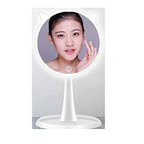 GRRONG Mirror Kosmetikspiegel mit LED süßer Smart-Ladeleuchte Schminkspiegel Beleuchtet mit Blendfreier Bleuchtung für Wohnzimmer, Kosmetikstudio, Spa und Hotel