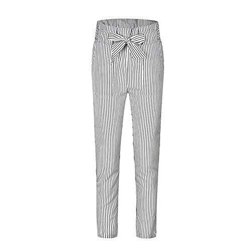 Striped Ninth Pants Women Chiffon High Waist Harem Pants Bow Tie Drawstring Sweet Elastic Waist Pockets Casual Trousers Chiffon Harem Pants