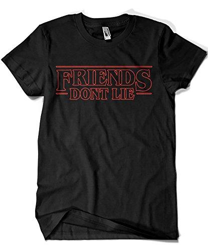 Camisetas la colmena 1586-maglietta, parody stranger things - friends dont lie (legendary p,)