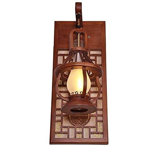 Vintage-Hütte Retro-Eisen-Wandleuchte Hölzernes Licht Industrial Lighting Fixtures Cafe Bar Home Decor (Größe: Höhe: 67,5 Cm, Breite: 28 Cm, Dicke: 28 Cm) Farbe: Hellgrün Patina, Rahmen: Schirm: Weiß