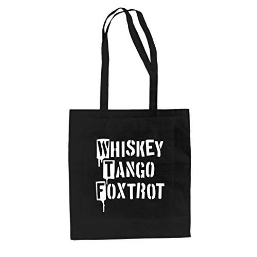 Baumwolltasche Jutebeutel - Whiskey Tango Foxtrot kellygrün-weiss