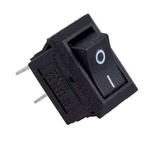 TOOGOO(R) 5 x AC 250V 3A 2 Pin ON/OFF I/O SPST Snap in Mini Wippschalter - Snap In Wippschalter