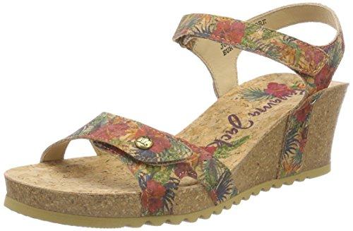 PANAMA JACK Damen Julia Cork Peeptoe Sandalen, Rot (Rojo), 38 - Damen Keil Schuhe Stoff Sandalen