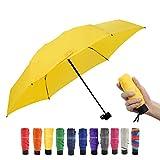 Paraguas De Viaje Mini Paraguas PequeñO Y Ligero Para Mochila/Bolso/Bolsillo, Se Adapta A Adultos Y NiñOs (Amarillo)