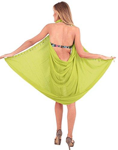 La Leela sanfte Rayon feste Strand Wrap Quasten Schalen Vertuschungsarong 70x43inch Tannengrün Grün~~Pos=Headcomp
