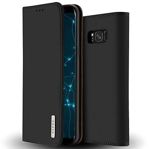 Radoo Galaxy S8 Hülle, Luxus Premium Echtes Leder Klapphülle Slim Lederhülle mit Standfunktion & Kartenfach TPU Innenraum Case Schlanke Ledertasche Handyhülle für Samsung Galaxy S8 (Schwarz)
