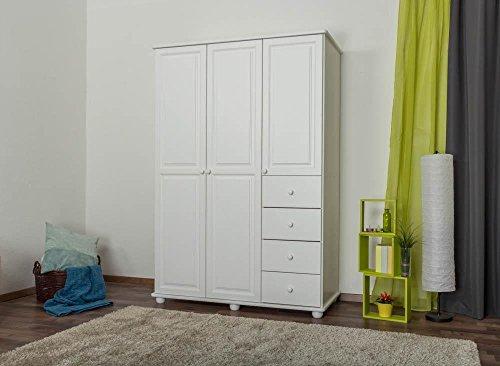 Kiefer-Kleiderschrank A-Qualität Weiß 195x135x59 cm