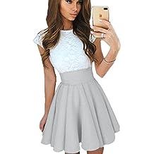 AKABELA Mujeres Vestidos de Verano A Línea Sin mangas Vestidos Coctail Vestido Beach Party Dress Mini Dress
