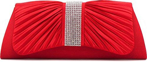 VINCENT PEREZ, Clutch, Abendtaschen, Umhängetaschen, Unterarmtaschen aus Satin mit Raffung und Strasssteinen, mit abnehmbarer Kette (120 cm) 27x11x5 cm (B x H x T), Farbe:Rot (Rote Satin-abend-tasche)