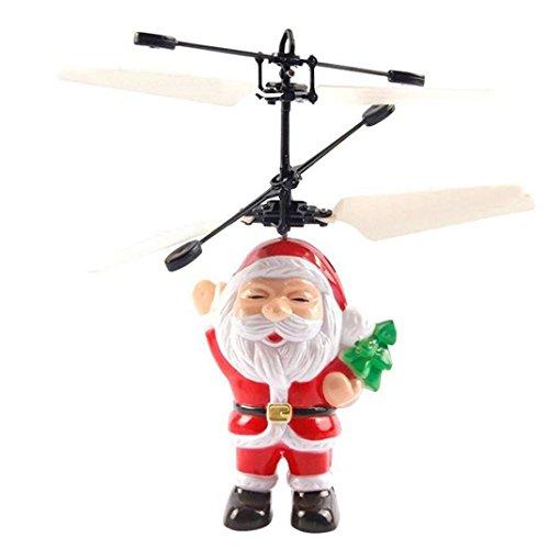 2018 Honestyi Hubschrauber,Elektrischer Infrarotsensor-fliegenden Ball Vater Christmas Helicopter LED Licht Spielzeug - Schwarzer Bär 6 Licht