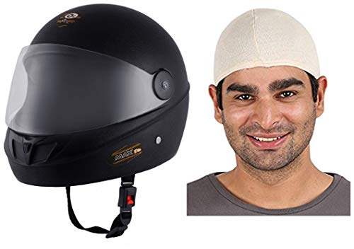 O2 Max DLX Full Face Helmet With Scratch Resistant Visor (Matte Black,M) and Autofy Unisex Multipurpose Hair Protector Dust Pollution Skull Cap (Biege) Bundle