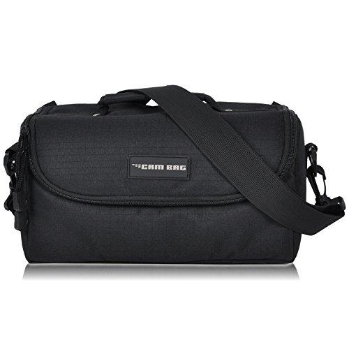 Kameratasche CAMBAG Fototasche Video D-SLR Kamera mit Wechselobjektive und Zubehör, Grösse M - XL Schwarz AUSWAHL (Derby - L) (Bag Messenger Schwarz Kunststoff)