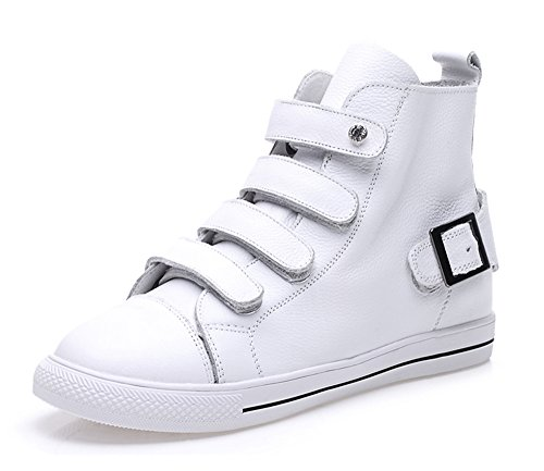 dayiss damen sneaker high top leder wei e schuhe. Black Bedroom Furniture Sets. Home Design Ideas