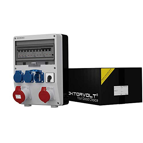 Stromverteiler TD-S/FI 32A 16A 3x230V mit Nockenschalter 4P 40A 0-1 ON-OFF Baustromverteiler Wandverteiler 2404 -