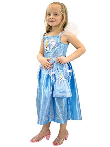 Disney Mädchen Cinderella Kostüm Kleid und Tasche Blau 116 (Disney Cinderella Kostüm)