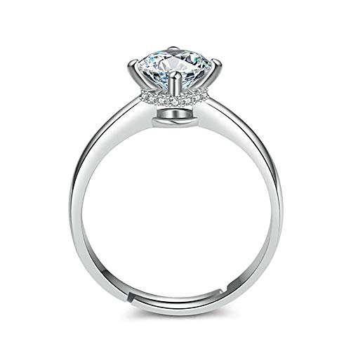 24 JOYAS Ring Hochglanz verstellbar 925 Sterling Silber für Damen, Hochzeit, Verlobung, Jahrestag oder Romantisches Geschenk -