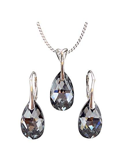 ANDEL* Schmuck-Set *VIELE FARBEN* Silber 925 Schön Damen Schmuckset mit Kristallen von Swarovski Elements - Wunderbare Ohrringe und Halskette mit Geschenkbox (Light Chrome) ()