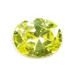 55Carat Cubic Zircon Stone 4.55 Ratti Oval Jarkan Loose Gemstone Lime Yellow