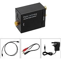 Audio DAC/conversor de audio digital a analógico, óptico o coaxial/adaptador Toslink o SPDIF a RCA L/R. Con adaptador CA. Con fuente de alimentación y cable Toslink