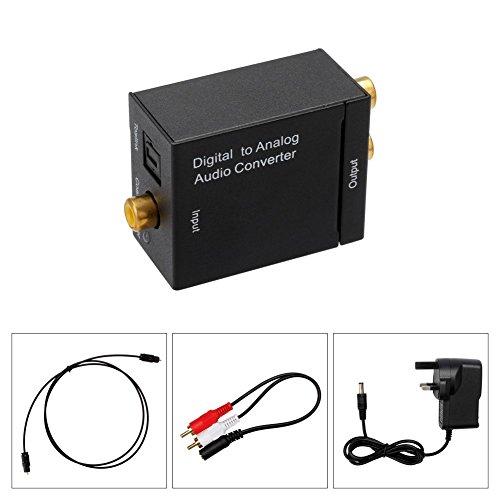 Audio DAC/SPDIF/Toslink oder Koaxial-Wandler, optisch oder zu RCA L/R Adapter, Digital to Analog Audio Converter mit AC Adapter | mit Netzteil und Kabel Toslink Test