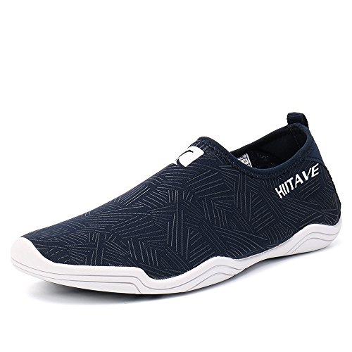 HIITAVE Men Women's Quick Dry Barefoot Water Shoes Slip On Beach Sport Aqua Socks Navy 5.5 B(M)