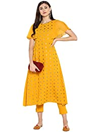 Janasya Women's Yellow Kurta With Pant
