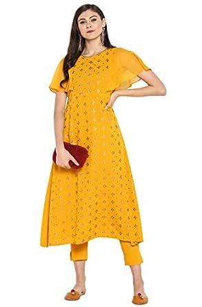 Janasya Women's Yellow Kurta With Pant (SET044-KR-NP-XS)