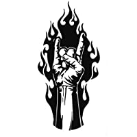 MCTYLI 7.4CM*15.5CM Rock Metal Music Hand Fire Tattoo Vinyl Black/Silver Car Sticker