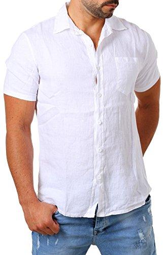 Young&Rich Herren Leinenhemd Kurzarm Körperbetont Slim Fit Leicht Tailliert 100% Leinen T3158, Grösse:M, Farbe:Weiß