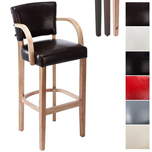 CLP Tabouret de bar Lionel V2 avec accoudoirs, chaise de bar, revêtement en similicuir, piètement en bois, dossier et appui-pieds pour plus de confort Siège: marron, piètement: nature