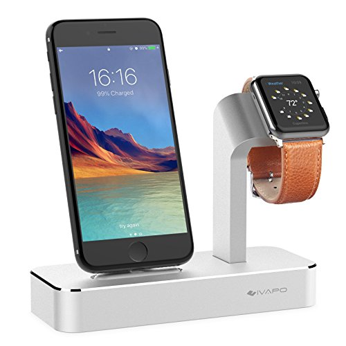 iVAPO Dockingstation für iPhone und Apple Watch aus Aluminium Ladeständer für iPhone und Apple Watch Series 3/Apple Watch Series 2/Apple Watch Series 1/ Apple Watch Nike + iPhone 8/iPhone 8 plus/iPhone X/iPhone 6 Plus/iPhone 6/iPhone 7 Plus/iPhone 7(Silber) (Iphone-apple Watch)