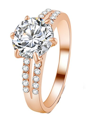 SaySure - Gold Color Silver Color Noble Luxury Rings (SIZE : 8)