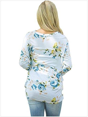 a Maniche Lunghe Nodo Knot Torcere Twist Nodo sul Davanti Laterale Laterali a Fiori Floreale Stampato Basic T-Shirt Maglietta Tee Top Azzurro