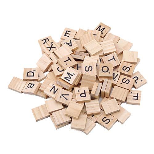 Bigsweety 100 Teile/Satz Englische Wörter Holzbuchstaben Alphabet Fliesen Schwarz Scrabble Für Handwerk Holz