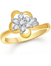 Meenaz 24K Fancy Flower Party Wear Ring Traditional Gold Ring For Girls & Women In American Diamond Cubic Zirconia...