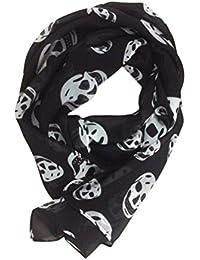fa5db71591c7 OULII - Foulard tête de mort pour femme - écharpe longue, mousseline, 165 x