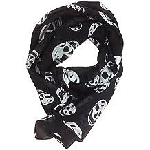 b6929ec1cb0a OULII - Foulard tête de mort pour femme - écharpe longue, mousseline, 165 x