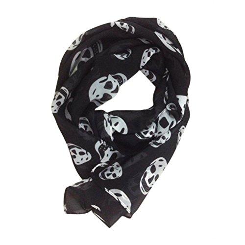 OULII Bufanda larga de la bufanda de la gasa de las mujeres de la moda abrigo largo del chal de la gasa 165x70cm (blanco y negro)