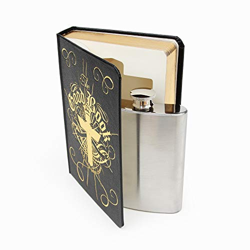 "Suck UK 4 oz Stainless Steel Secret Hip Flask / 120ml Flachmann aus rostfreiem Edelstahl versteckt in ""The Good Book"" - Neuartige Geschenkidee und Getränkebehälter"