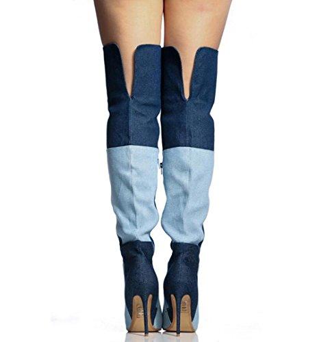 Cowboy Alti Donne L'inverno Del Blu Inclusa A E L Autunno Da Scarpe Colorato Stivali Punta Ginocchio nzWxI6