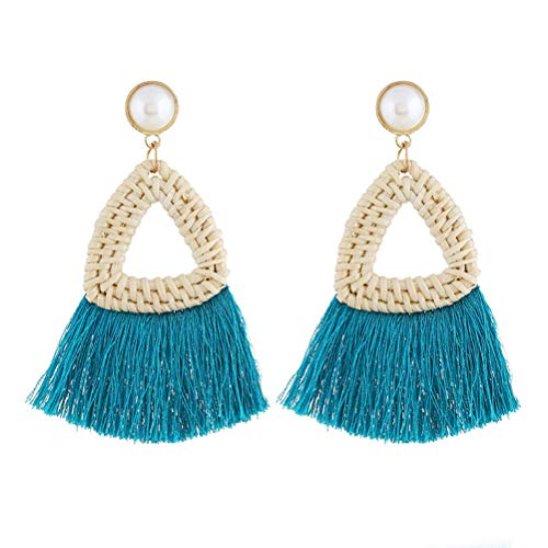 Bohemian Rattan Tassels Earrings Triangle Drop Dangle Earrings Women Jewellery Gift (Blue)