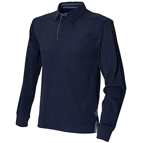 Front Row Mens Long Sleeve Plain Cotton Rugby Shirt Navy