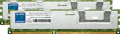 GLOBAL MEMORY 32GB (2x 16GB) DDR31600MHz PC3-12800240-PIN ECC Registered DIMM (RDIMM), Speicher RAM KIT für Servers/WORKSTATIONS/MAINBOARDS (4RANK KIT CHIPKILL,) (Ddr3 Server Mainboard)
