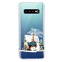 Fvntuey Case for Samsung Galaxy S10e Pattern [Clear with Christmas Design, Soft Ultra-Thin TPU Silicone Back 360° Cover Bumper] Full Body Protective Shell Accessories Compatible with Galaxy S10e(2)