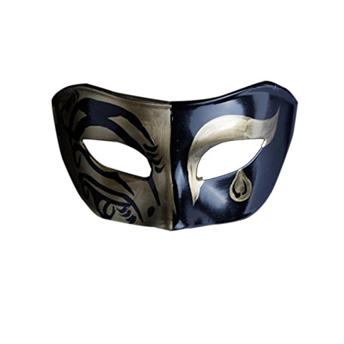 G-JY Halloween Maske Lace Maske venezianischen Maske Männer Maske Halloween Ball Party Halbe Gesichtsmaske Retro Herren Maske, A2 (Halloween Herr G)