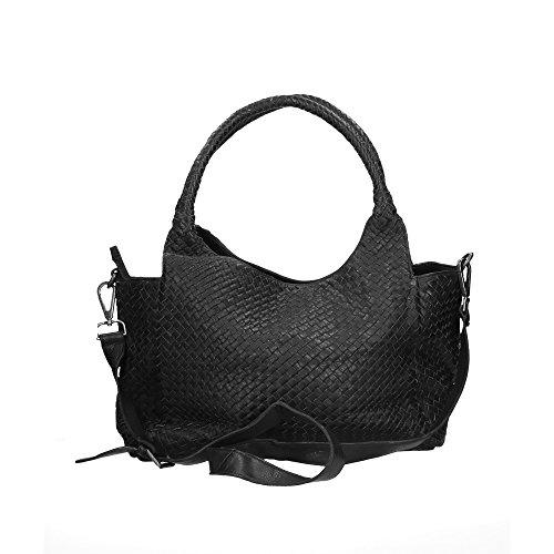 CTM Femme Sac à bandoulière Tressé Vintage Style avec bandoulière en cuir véritable made in Italy - 38x26x15 Cm