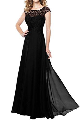 La_mia Braut Fuchsia Kurzarm Steine U-ausschnitt Abendkleider Brautjungfernkleider Partykleider A-linie Rock Schwarz
